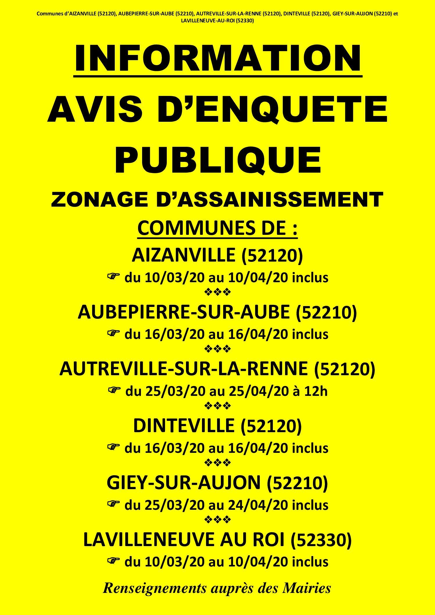 AVIS DE REPRISE D'ENQUÊTE PUBLIQUE – ZONAGE D'ASSAINISSEMENT