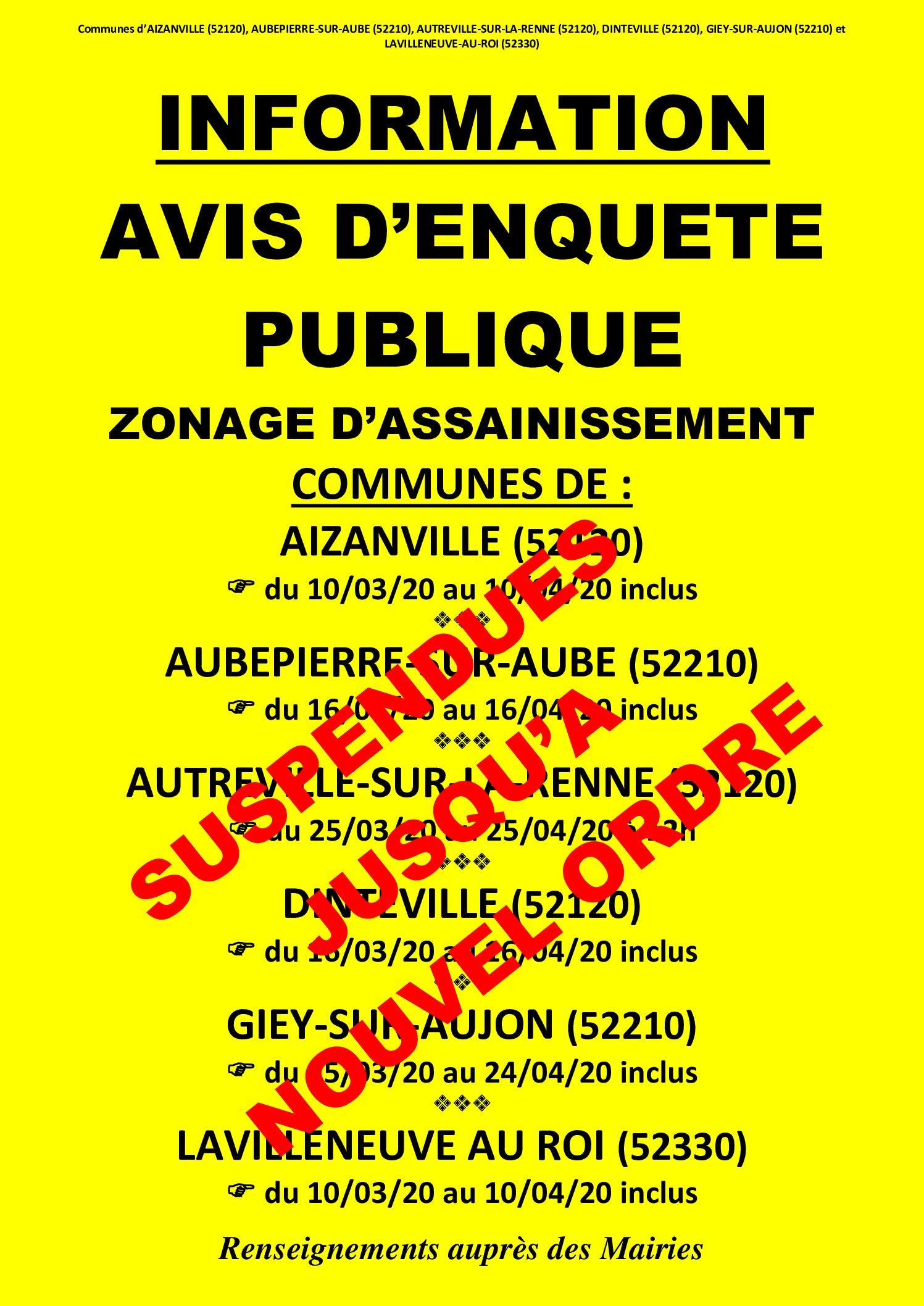 SUSPENSION DES ENQUÊTES PUBLIQUES – ZONAGE D'ASSAINISSEMENT