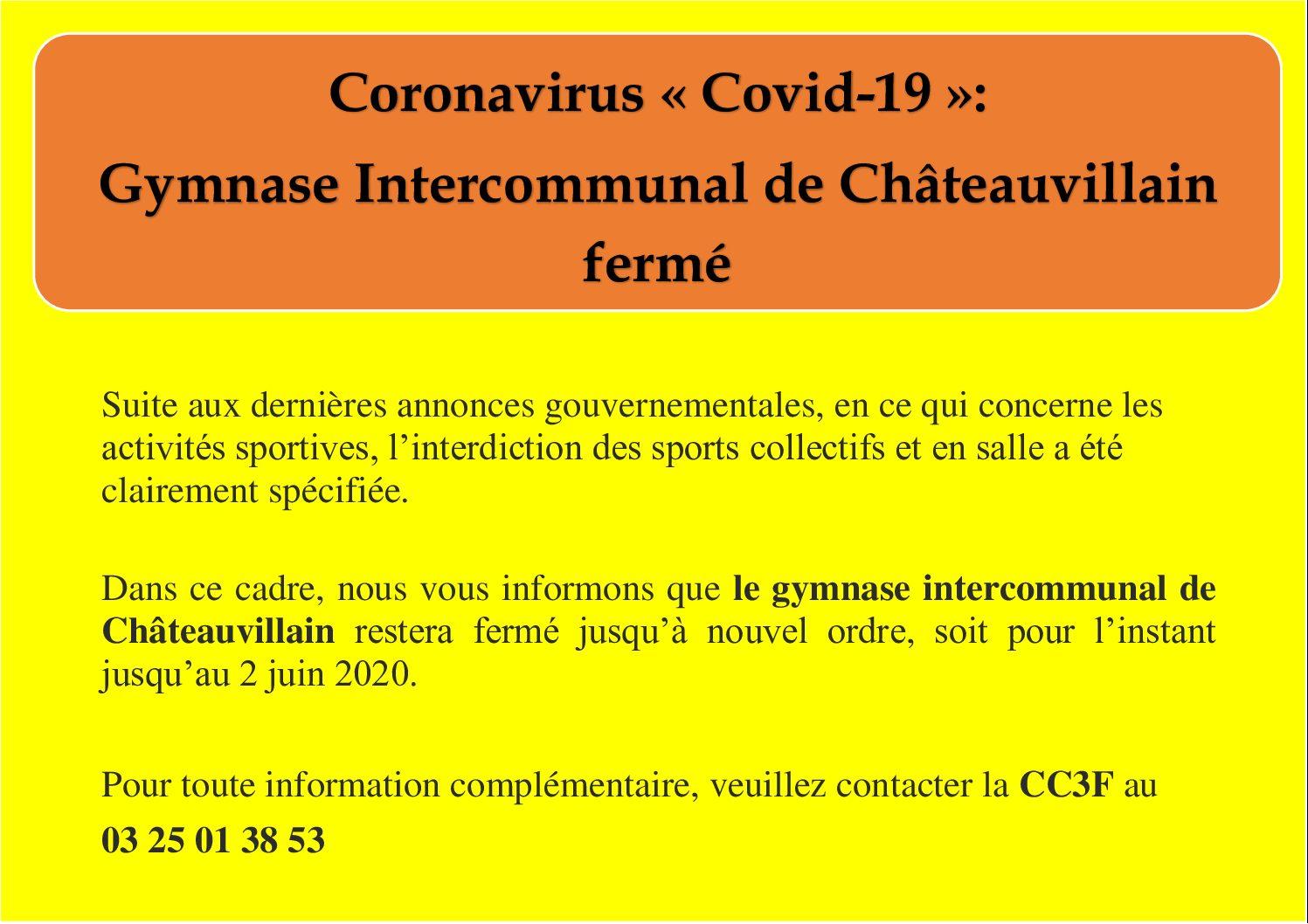 Gymnase intercommunal de Châteauvillain fermé