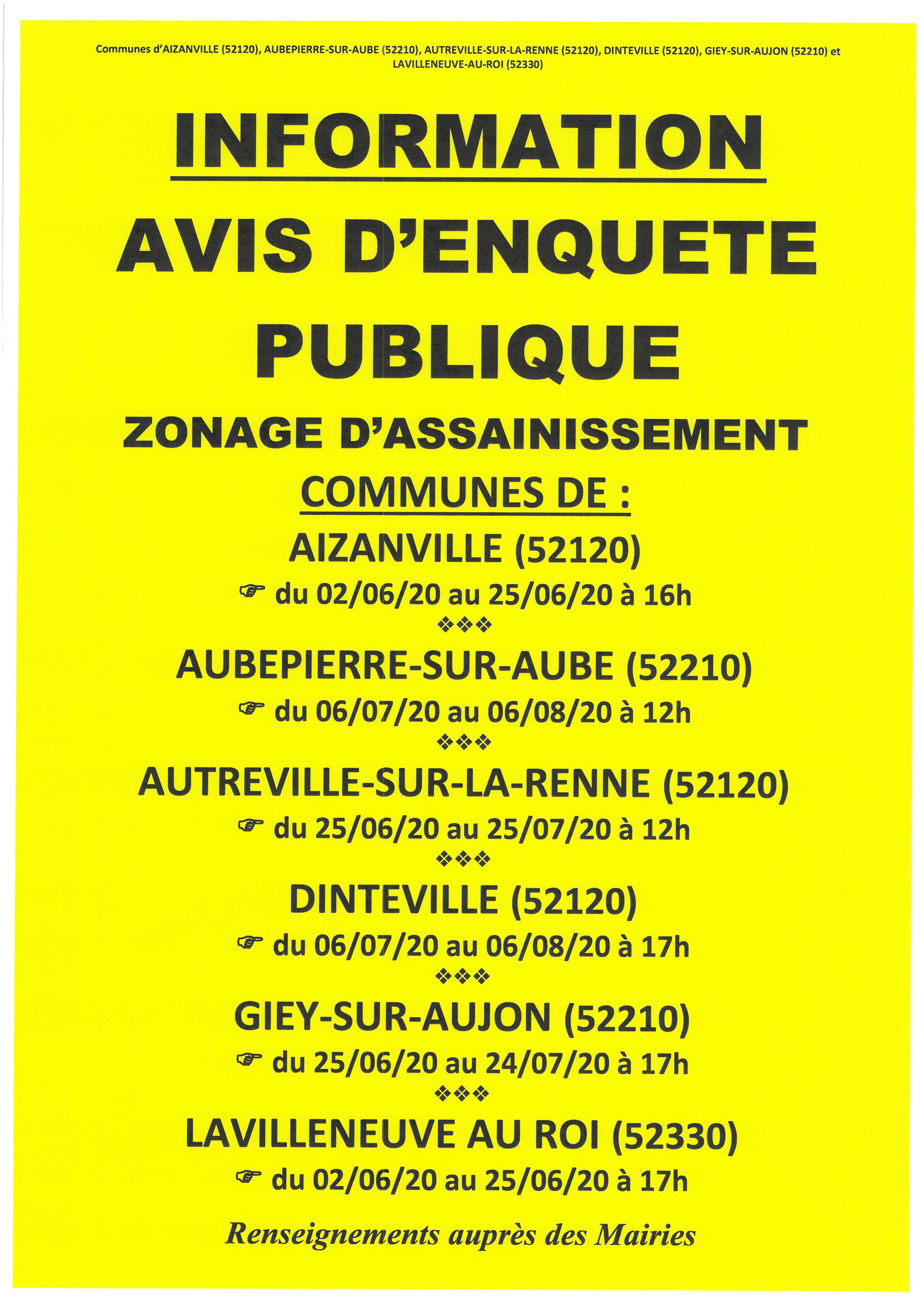 INFORMATION – AVIS D'ENQUÊTE PUBLIQUE – ZONAGE D'ASSAINISSEMENT