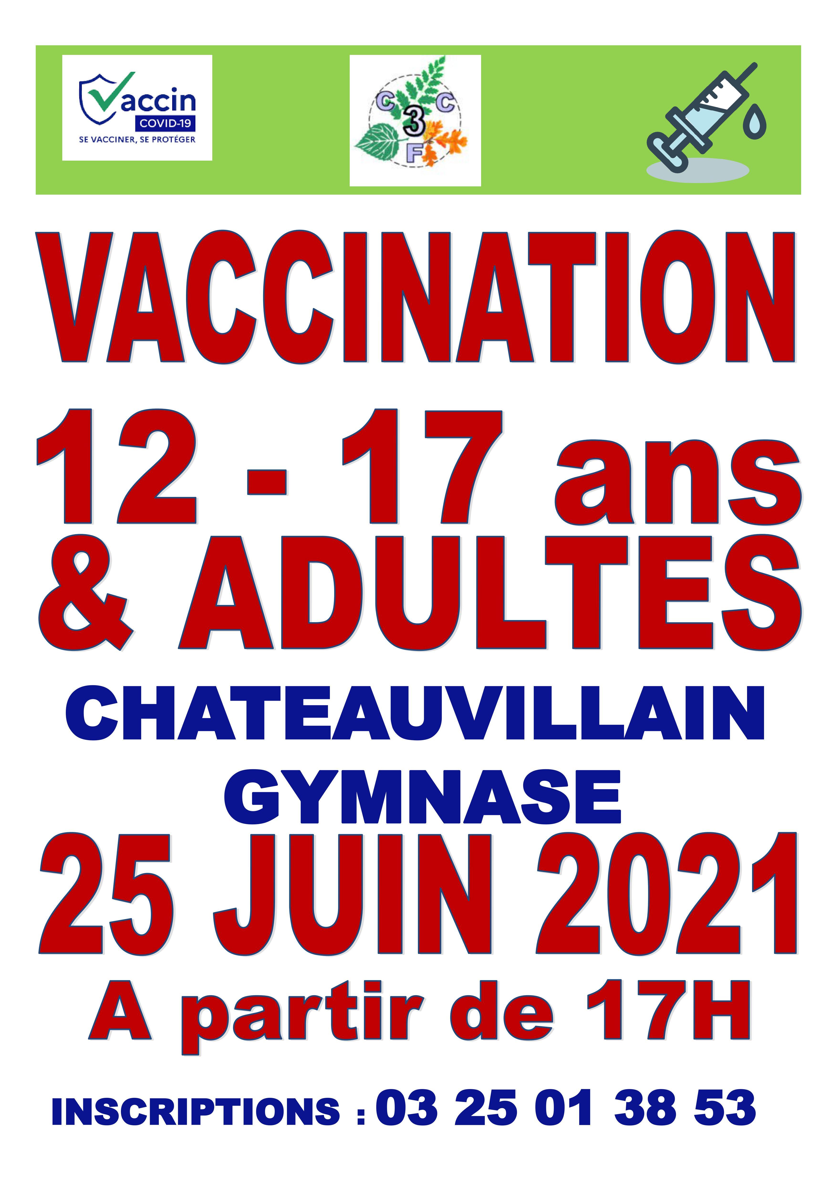 Dernière séance de vaccination à Châteauvillain le 25 juin 2021 : il reste quelques places disponibles.