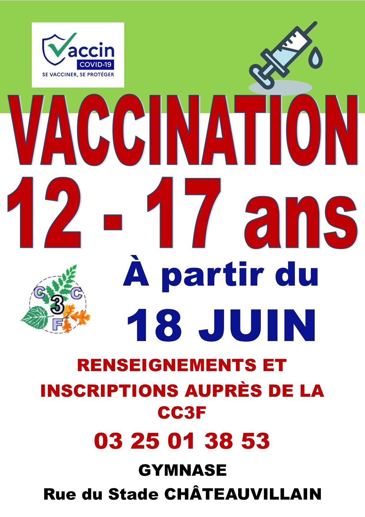 Vaccination pour les 12 – 17 ans à Châteauvillain