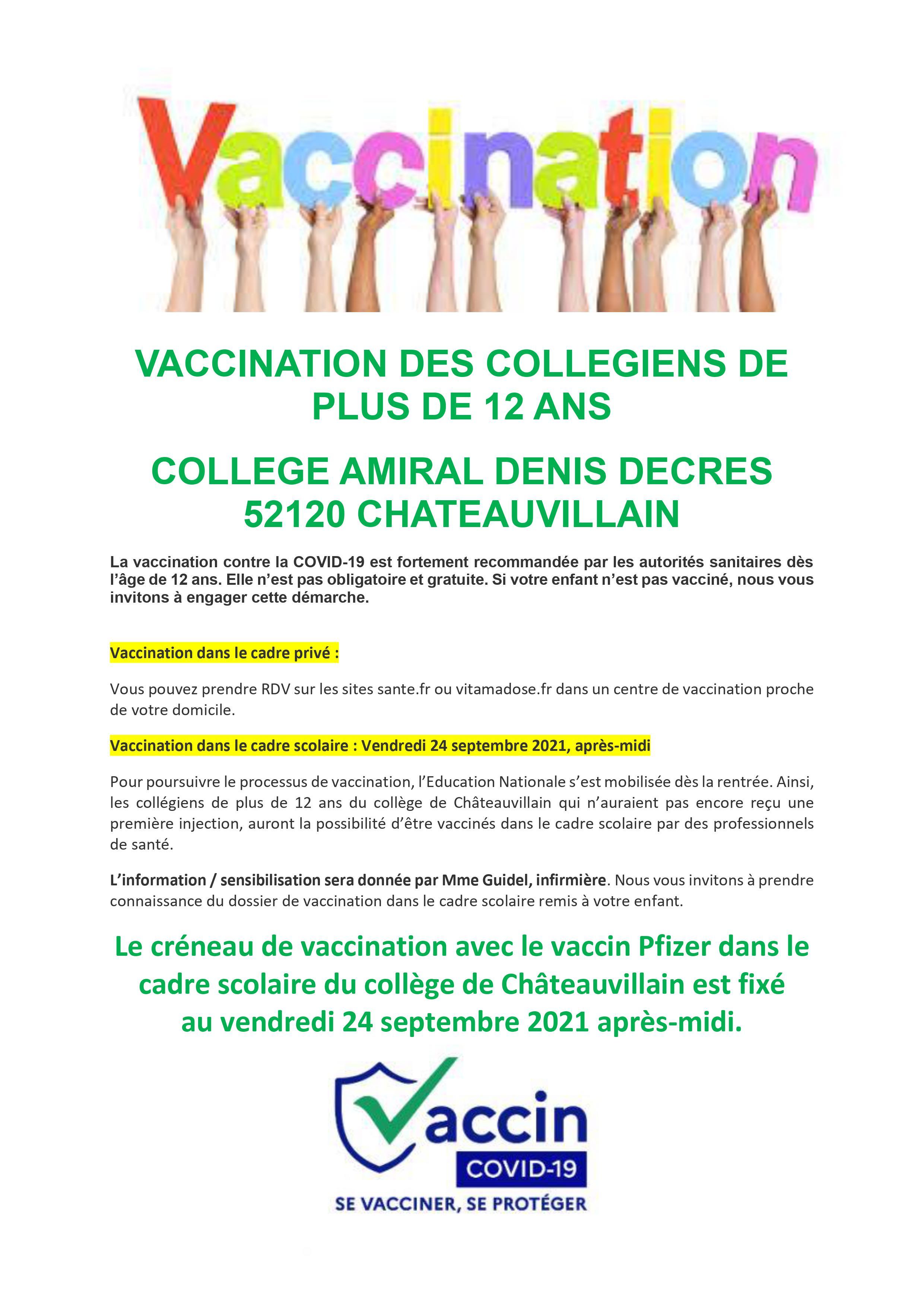 Vaccination des collégiens – Vendredi 24 septembre 2021